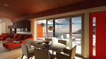 Sinatra Living: Interior, Dining Room by University of Nevada, Las Vegas Solar Decathlon Team.