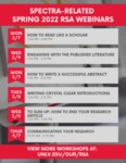 Spectra Volume 1, Issue 2: Spectra-related Fall 2021 RSA Webinars by UNLV Office of Undergraduate Research